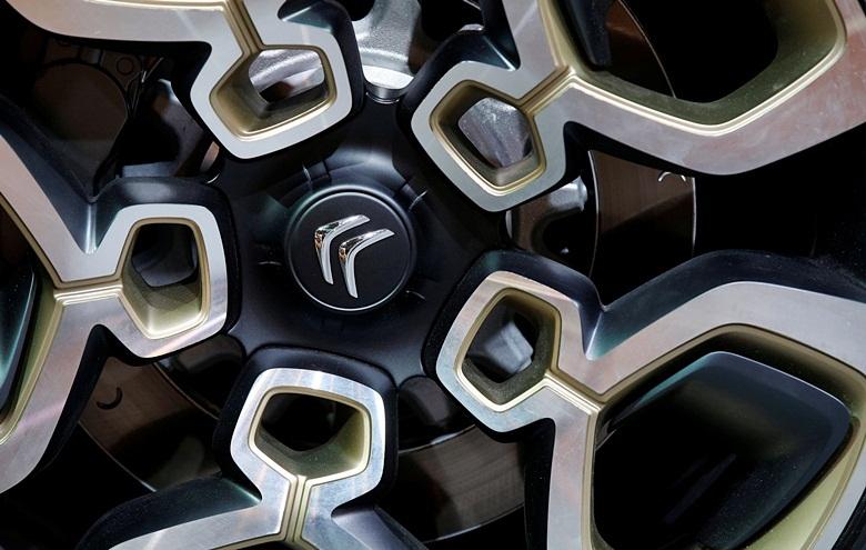 A Citroen logo is seen on a wheel at the Mondial de l'Automobile, Paris aut show, during media day in Paris