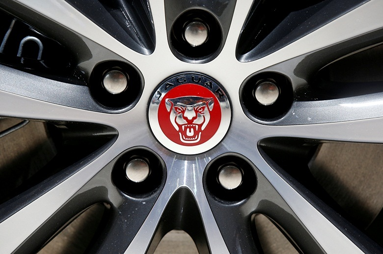 View of a Jaguar logo on a wheel at the Mondial de l'Automobile, Paris auto show, during media day in Paris, France, September 30, 2016. REUTERS/Jacky Naegelen