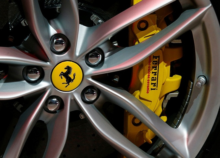 View of Ferrari logo on a wheel at the Mondial de l'Automobile, Paris auto show, during media day in Paris, France, September 30, 2016. REUTERS/Jacky Naegelen