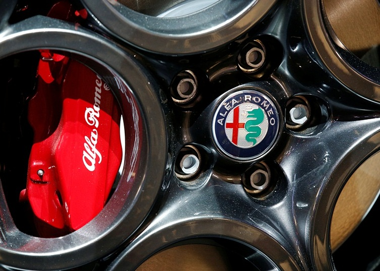 View of Alfa Romeo logo on a wheel at the Mondial de l'Automobile, Paris auto show, during media day in Paris, France, September 30, 2016. REUTERS/Jacky Naegelen